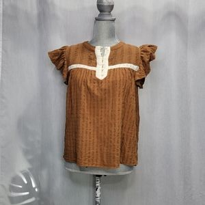 Bohme Fluttered Sleeve Brown Top Size Small